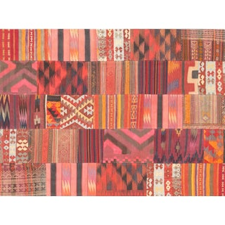 Vintage Patchwork Lamb's Wool Area Rug - 6' X 8' For Sale