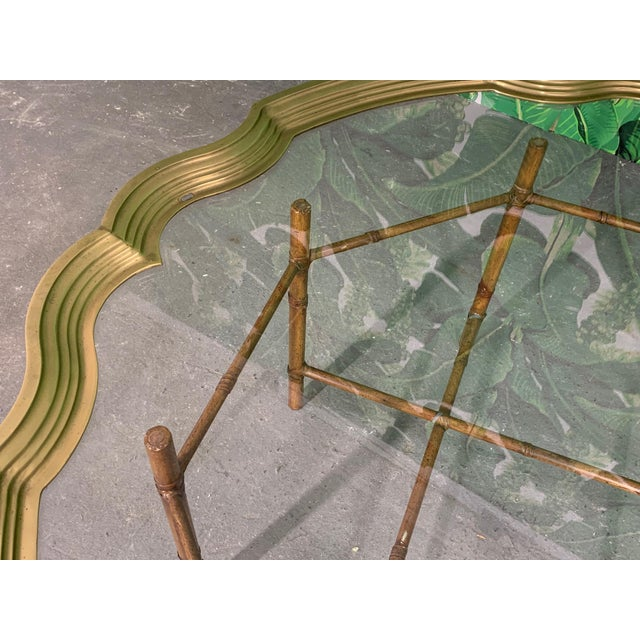 Faux Bamboo Coffee Table With Brass and Glass Top For Sale In Jacksonville, FL - Image 6 of 8