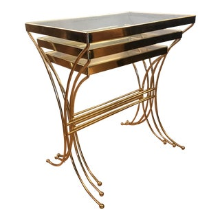 1960s Hollywood Regency Brass Nesting Tables - Set of 3 For Sale