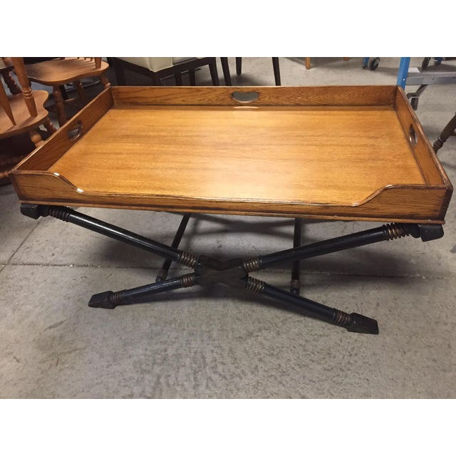 Drexel Heritage Vintage Drexel Heritage Coffee Table With X Base and Butler's Tray Top For Sale - Image 4 of 4