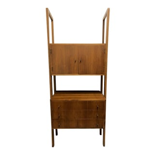 Mid-Century Modern Paul McCobb Style Small Standing Walnut Modular Display Shelving Wall Unit Dry Bar