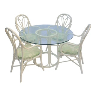 Vintage Boho Chic McGuire Rattan Bistro Style Dining Set - 5 Pieces For Sale