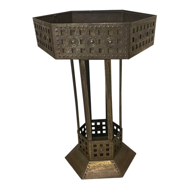 Unusual Medieval Standing Brass Planter or Bar For Sale