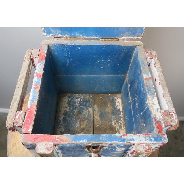 Painted Wood Work Box W/ Metal Clasp and Handles For Sale - Image 11 of 13