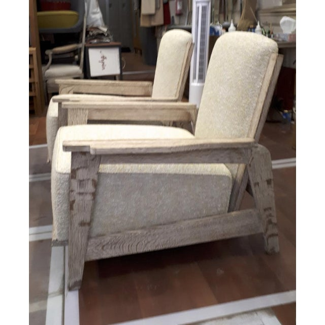 Jean Prouvé Style of Prouve Cerused Oak Lounge Chairs With Reclining Back For Sale - Image 4 of 7