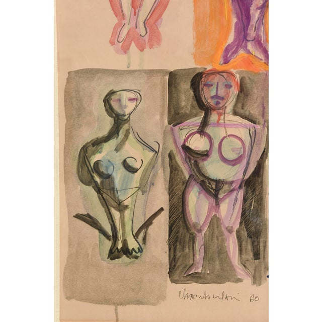 Signed Chamberlin Vintage One of Kind Nude/Abstract/ Figure Watercolor Custom Framed - Image 5 of 9