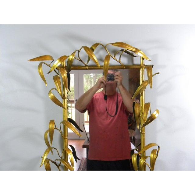 Hollywood Regency Vintage Metal Bamboo Leaf Mirror For Sale - Image 3 of 6