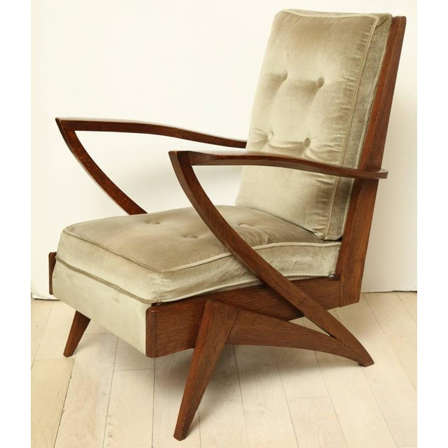 Pair of French Mid-Century Modern Wood and Upholstered Armchairs, Circa 1950 - Image 2 of 6
