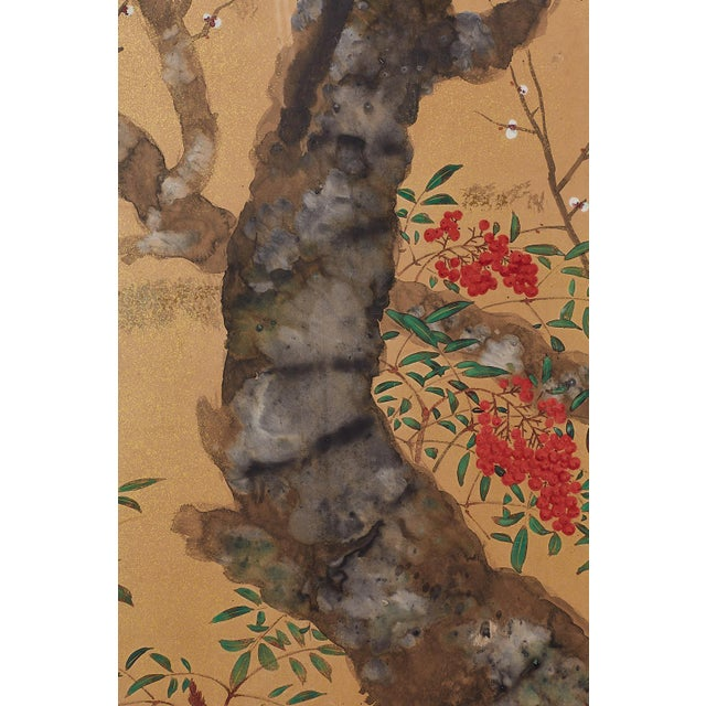 Japanese Four-Panel Screen Prunus Tree With Nandina For Sale In San Francisco - Image 6 of 13