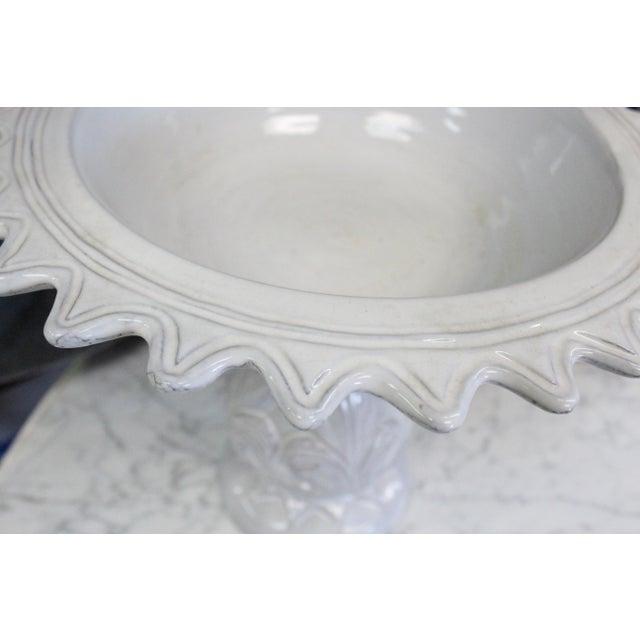 Art Nouveau Large White Compote Planter For Sale - Image 3 of 7