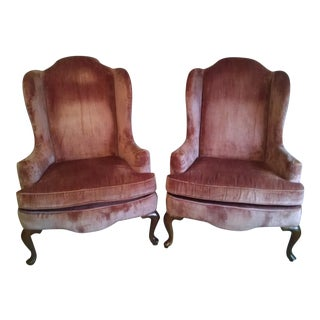 Sale Ending Soon!! Highland House of Hickory Queen Anne Rose Velvet Wingback Chairs - a Pair