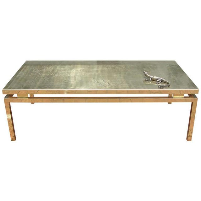 Polished Brass Etched Top Cocktail Table by Rosseau For Sale - Image 10 of 10