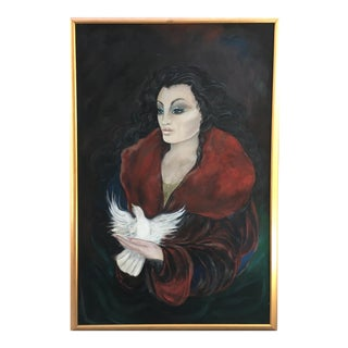 1980s Art Nouveau Painting of Lady With Dove For Sale