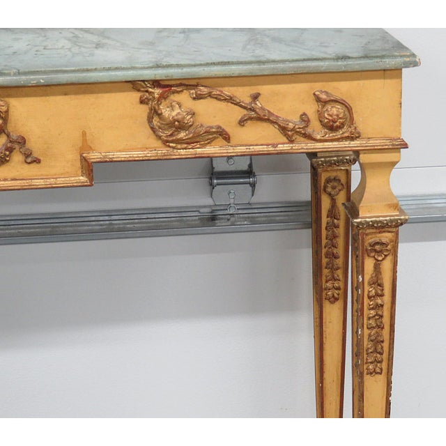 Neoclassical Style Paint Decorated Console & Mirror For Sale - Image 4 of 13