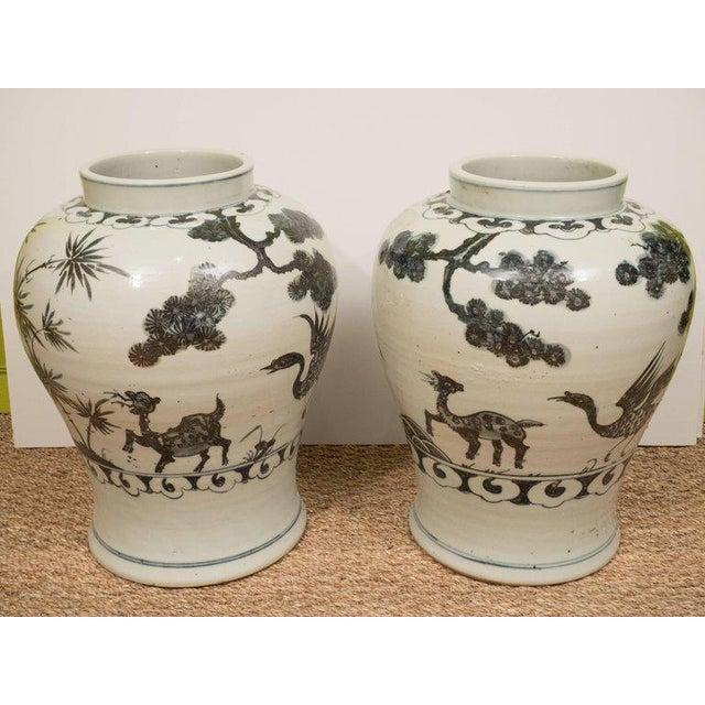 Pair of Black & White Chinese Export Jars - Image 4 of 9