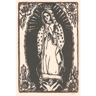 Figurative Lady Guadalupe Woodblock Print For Sale