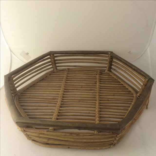 Rattan Brass-Edged Serving Trays - A Pair - Image 5 of 10