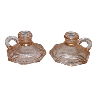 Vintage Pink Depression Glass Candle Holders - Pair For Sale