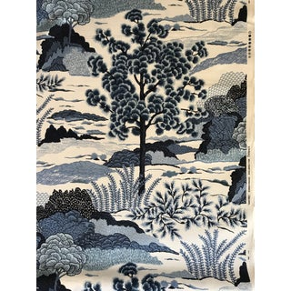 Chinoiserie Thibaut Screen Printed Daintree Linen Blend Fabric - 3 1/2 Yards For Sale