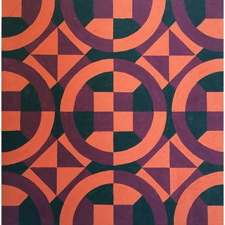 Mid-Century Geometric Pattern Painting For Sale