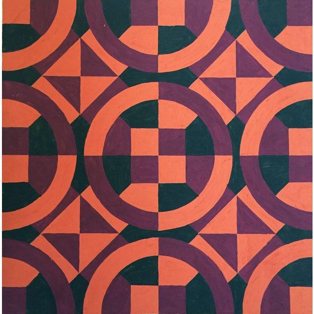 Mid-Century Geometric Pattern Painting - Image 1 of 4