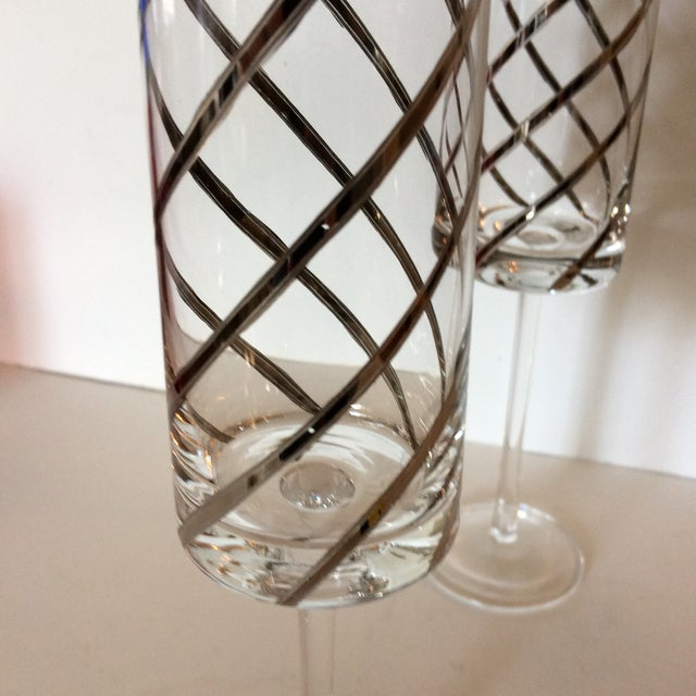 Vintage Crystal Platinum Swirl Toasting Glasses - A Pair For Sale - Image 9 of 11