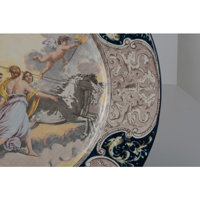 Large Italian Faience Allegorical Neoclassical Charger Icarus Chariot For Sale In Philadelphia - Image 6 of 13