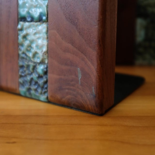 Green Martz Bookends for Marshall Studios Walnut and Ceramic For Sale - Image 8 of 10