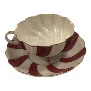 1940s Vintage Red and White Swirl Collectible Teacup and Saucer - a Pair For Sale