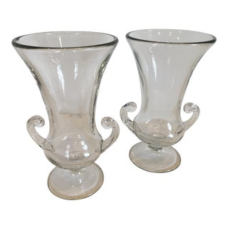 Classical Glass Vases - a Pair For Sale