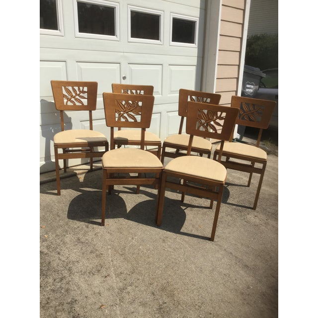 Wood Vintage Carved Art Deco Chairs - Set of 6 For Sale - Image 7 of 11