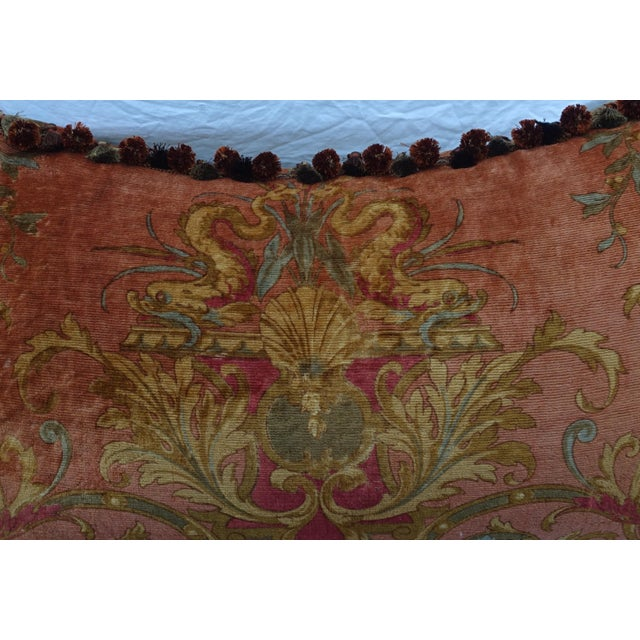 Gold Custom Mohair & Silk Damask Pillow w/ Tassel Fringe by Melissa Levinson For Sale - Image 8 of 10