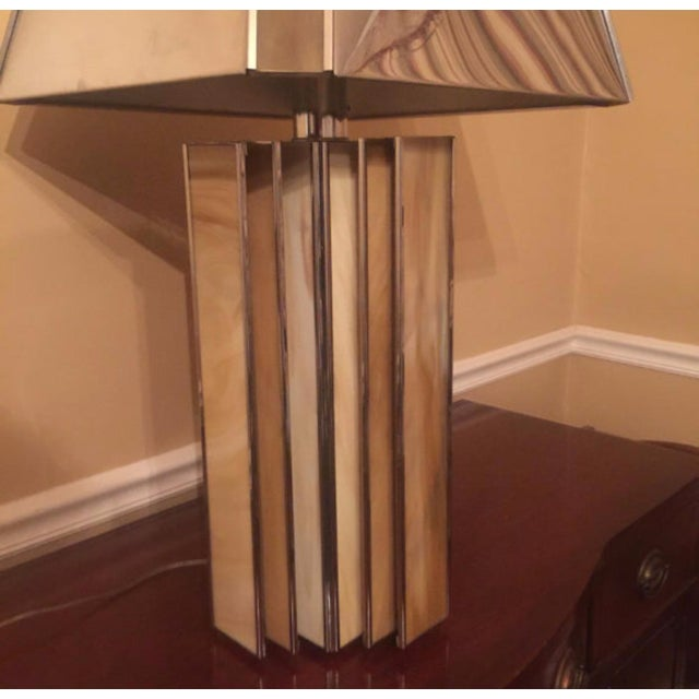 Chrome and Colored Glass Modern Table Lamp - Image 3 of 5