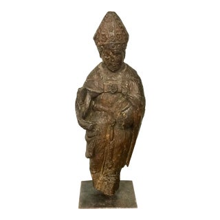 17th Century Carved Wood Figure of a Bishop For Sale