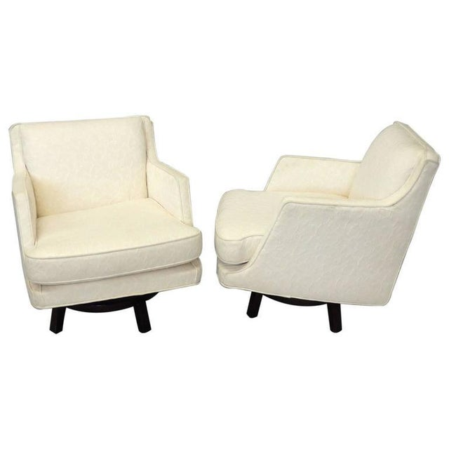 Textile Pair of White Edward Wormley for Dunbar Swivel Lounge Chairs For Sale - Image 7 of 7