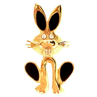 20th Century Gold Enamel & Austrian Crystal Bunny Rabbit Brooch For Sale
