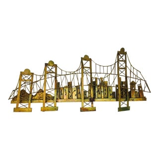 Vintage Mid Century Modern Metal Bridge Sculpture For Sale