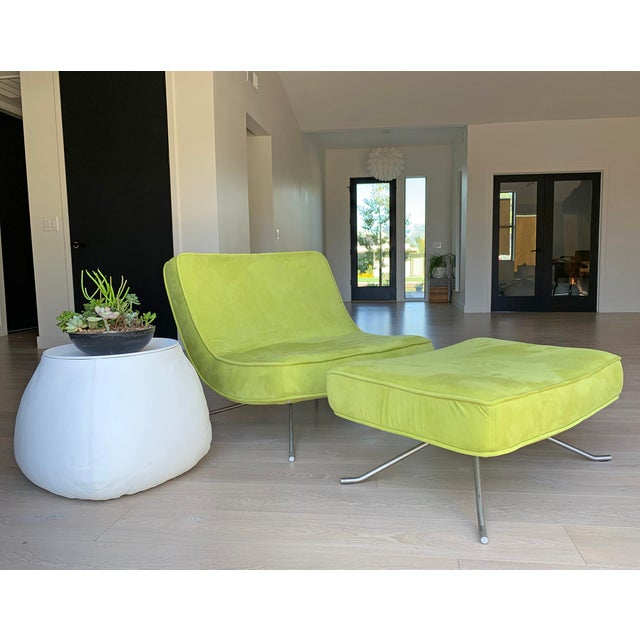 An absolutely stunning chair designed by Christian Werener for Ligne Roset, 2001. This lime green Pop Chair and ottoman...