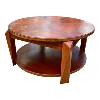 Art Deco Wood Coffee Table With Wheels For Sale