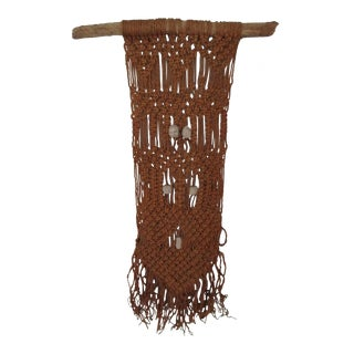 Macrame Wall Art With Large Clay Beads on Driftwood