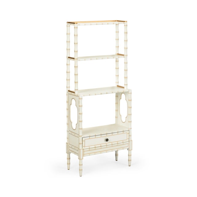 Contemporary Bamboo Bookcase in Cream For Sale - Image 3 of 3
