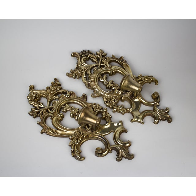 Syroco Hollywood Regency Syroco Wood Candle Sconces - a Pair For Sale - Image 4 of 10