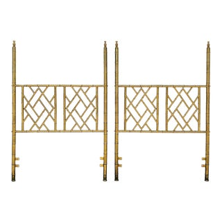 Pair of Weiman/Warren Lloyd for Mastercraft Brass Chippendale Faux Bamboo Twin Headboards - 1970s For Sale