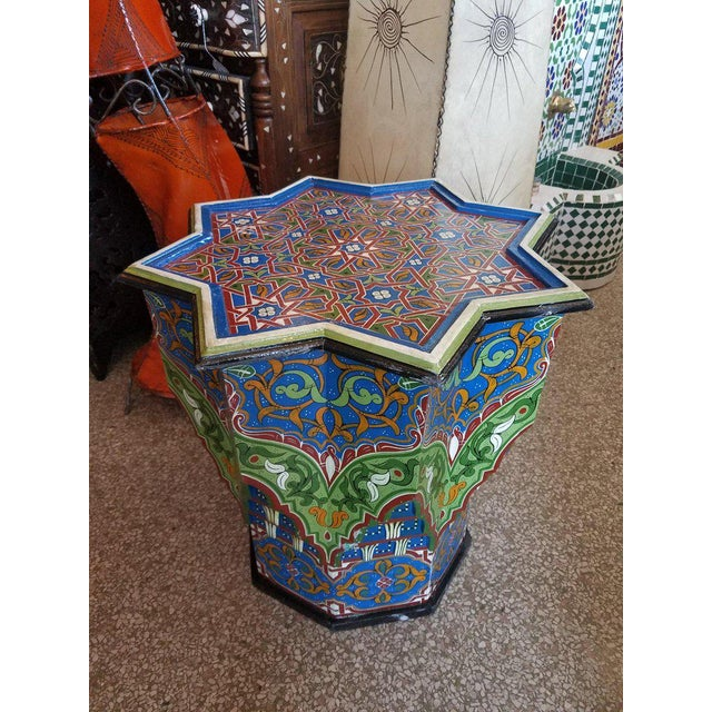 2010s Moroccan Ceuta Painted and Carved Moroccan Star Table For Sale - Image 5 of 6