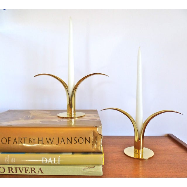 Ystad Metall Brass Lily Candle Holders/Vases - Image 3 of 8