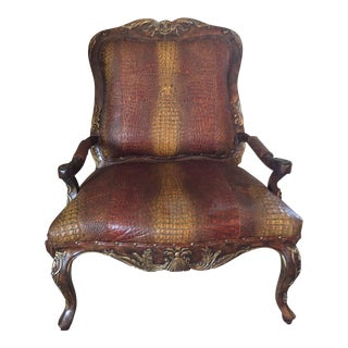 Embossed Leather Crocodile Pattern Accent Chair For Sale