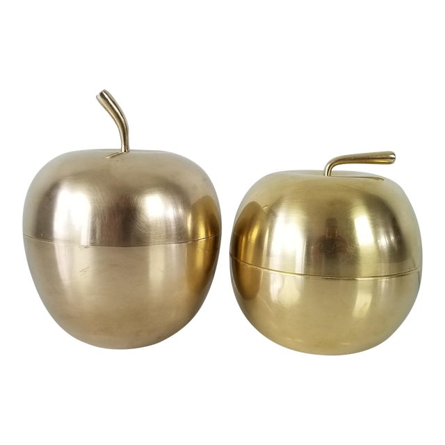 Vintage Solid Brass Apple Box - a Pair For Sale