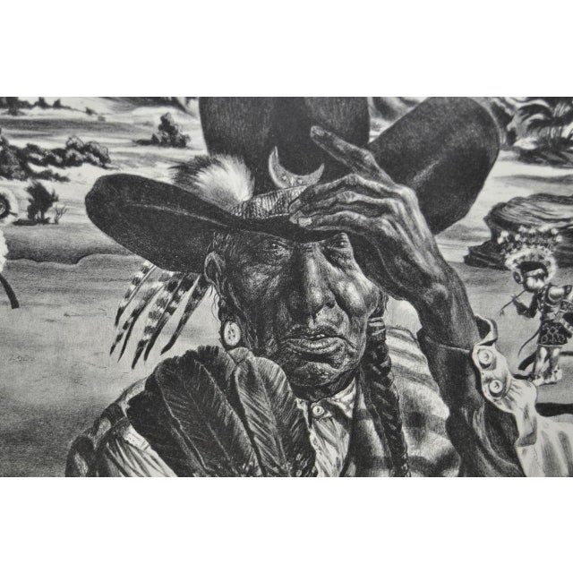 "1940 Vintage ""Comanche Portrait"" Pencil Signed Lithograph by Charles Banks Wilson - Image 4 of 6"