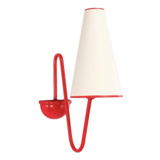 'Bouquet' Red Wall Lamp in the Style of Jean Royère For Sale