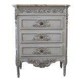 Image of Louis XVI Style Painted and Carved Ribbon Chest of Drawers With Marble Top For Sale